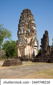 Ancient Khmer prang on the ruins of the Buddhist temple of Wat Phra Pai Luang on a sunny day. Sukhothai, Thailand