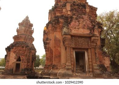 Ancient Khmer Rock Castle in Northeast of Thailand : Prasart Sikoraphume historical park in surin Thailand