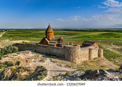 The ancient Khor Virap Monastery in Armenia.  It is located in the Ararat plain in Armenia.