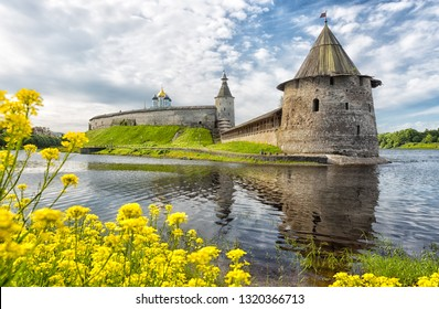 Ancient Kremlin in summer day, Pskov, Russia