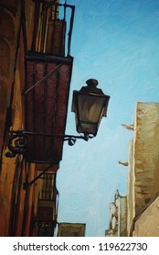 ancient lantern in gothic quarter in barcelona, illustration, painting