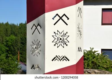 Ancient Latvian symbols:  the sign of Jumis, Auseklis and Māra zigzag line. Jumis - symbolizes fertility and prosperity. Auseklis (Morning Star) - protection. Māra - Mother Earth.