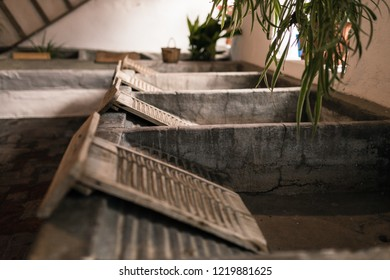 Ancient laundry room in cordoba, spain with wooden washboards