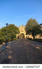 "Ancient Leopold Gate to Vysehrad (""Upper Castle"") in summer morning. Vysehradska Brana, Prague, Czech Republic."