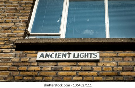 Ancient Lights Sign, English law written in 1832, If a window has received natural light for 20 years or more then permission is needed to build any structure that will block the light to this window