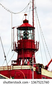 ancient lightship in the port of Hamburg