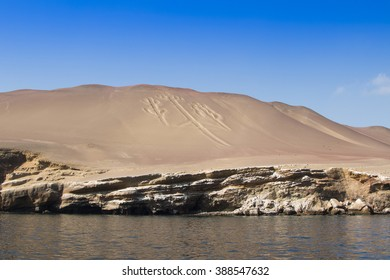 Ancient lines in the sand near Paracas, Peru