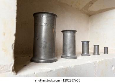 Ancient litre cilinders close up view