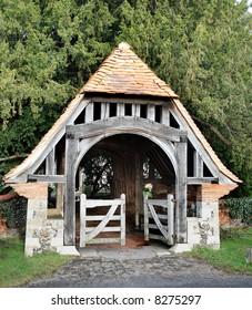 Ancient Lychgate entrance to an English Village Church
