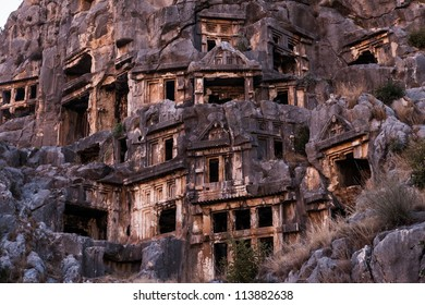 Ancient lycian Myra rock tomb ruins at Turkey Demre