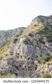 Ancient lycian necropolis with tombs carved in rocks, Mira, Turkey.