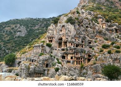 ancient Lycian rock tombs in Demre (Myra) in Turkey