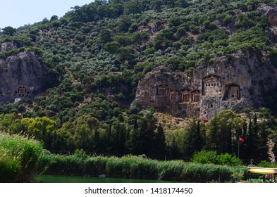 ancient Lycian rock tombs on the Dalyan River in Turkey