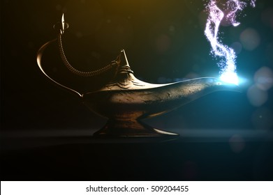 ancient magic lamp in dark place
