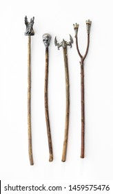 ancient magical wooden staff on a white background