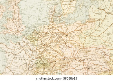 Ancient map of Germany,1895.