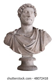 Ancient marble bust of the roman emperor Hadrian isolated on white with clipping path