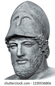 Ancient marble portrait bust of Greek statesman Pericles isolated