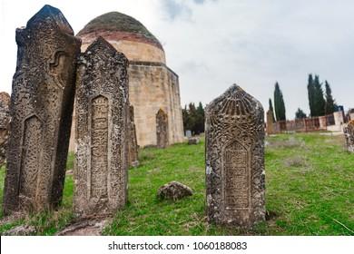 Ancient mausoleum and cemetery, Yeddi Gumbez komplex , Shamakhi city, Azerbaijan