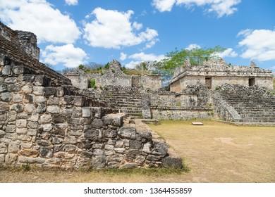 Ancient Maya city of Ek Balam. Acropolis, the largest structure at Ek Balam ruins, archaeological zone of the ancient Mayan civilization, Yucatan, Mexico