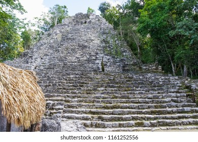 Ancient mayan city Coba in Yucatan, Mexico. Its archaeological area and famous ruins.