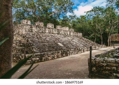 Ancient Mayan city in Mexico. Ruins of the city of Coba, Yucatan