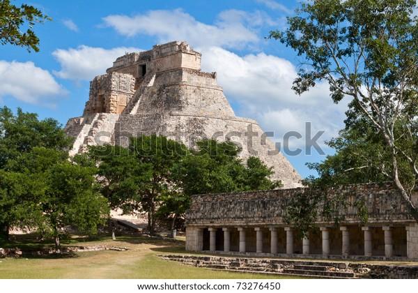 Ancient mayan pyramid (Maya Pyramid of the Magician, Adivino). Uxmal, Merida, Yucatan, Mexico