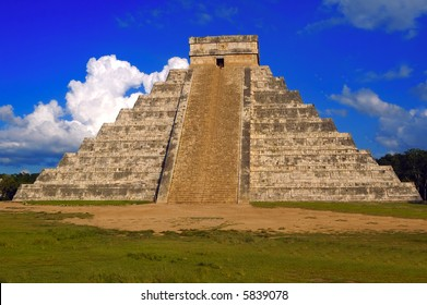 An ancient Mayan pyramid on a sunny summer day