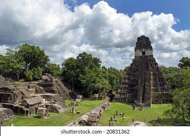 Ancient Mayan pyramid in Tikal Guatemala