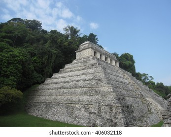 Ancient mayan temple at Palenque ruins in Mexico