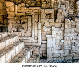 Ancient Mayan wall decorations in one of the rooms of Acropolis in Ek Balam, a late classic Yucatec-Maya archaeological site located in Temozon, Yucatan, Mexico.
