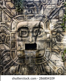 Ancient Mayan Waterfall carved in stone
