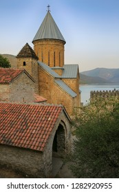 Ancient medieval fortress Ananuri in autumn in Georgia