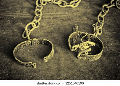 Ancient medieval handcuffs, detail of a former torture tool,