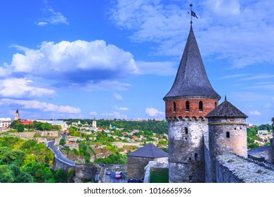 "Ancient medieval Kamianets-Podilskyi Castle has rise over the surrounding Smotrych River canyon. National Historical ans Architectural Reserve ""Kamianets"". Ukraine."
