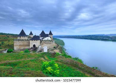 Ancient medieval Khotyn castle located on the right bank of the Dniester River. Khotyn. Chernivtsi region. Ukraine