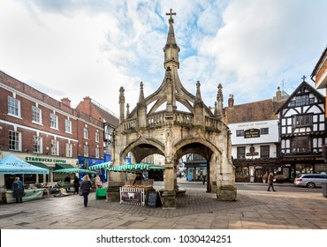 Ancient Medieval market cross known as the Poultry Cross in Salisbury taken in Salisbury, Wiltshire, UK on 21 February 2018