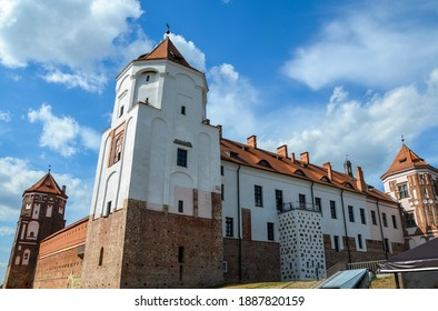 Ancient medieval Mir Castle Complex in the town of Mir. Historical heritage of Belarus. Famous landmark in summer - Shutterstock ID 1887820159