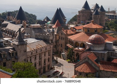 Ancient medieval roofs of mountain resort Bana hills french village