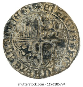 Ancient medieval silver coin of the King Enrique IV. Real. Coined in Toledo. Spain. Reverse.