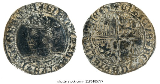 Ancient medieval silver coin of the King Enrique IV. Real. Coined in Toledo. Spain.