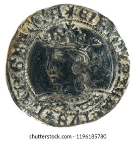 Ancient medieval silver coin of the King Enrique IV. Real. Coined in Toledo. Spain. Obverse.