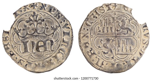 Ancient medieval silver coin of the King Enrique IV. Half real. Coined in Burgos. Spain.