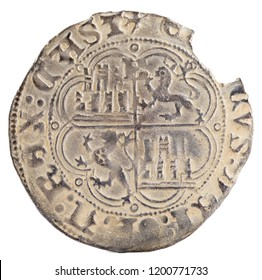 Ancient medieval silver coin of the King Enrique IV. Half real. Coined in Burgos. Spain. Reverse.