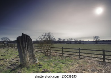 Ancient megalithic standing stone at Matfen in Northumberland, England.