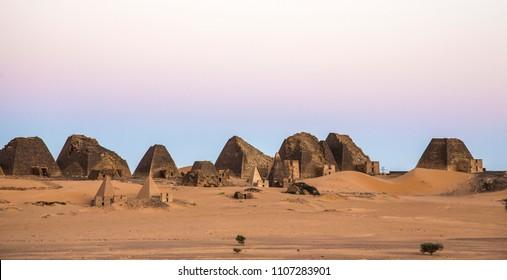 ancient Meroe pyramids in a desert in Sudan