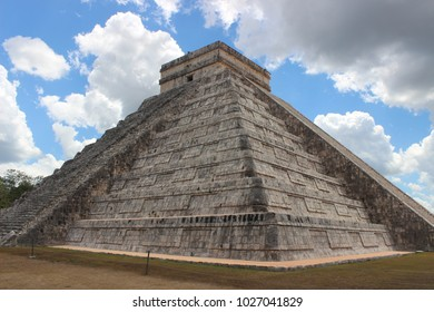 Ancient Mexican Mayan Temple/Pyramid in Mexico, Chichen Itza side view with beautiful sky