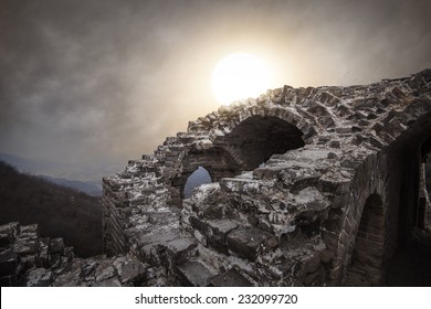 ancient military ruins in the dusk