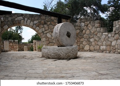 Ancient millstone in Begin Park in Israel