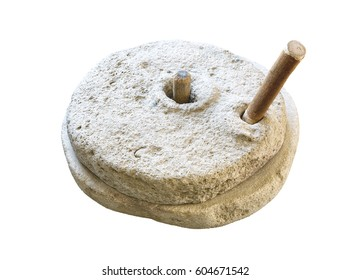 Ancient millstone isolated on white background. Hand mill is an ancient stone tool for grinding grain products and obtaining flour.